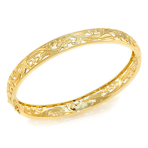 Plumeria Scroll 8mm Bracelet in 14K Yellow Gold - Size 7.5