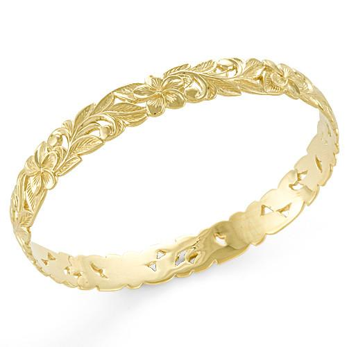 Plumeria Scroll 10mm Bracelet in 14K Yellow Gold - Size 8