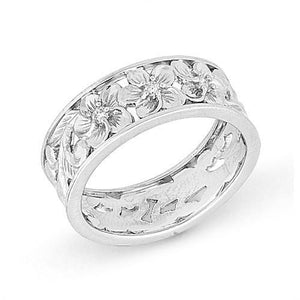 Hawaiian Heirloom Plumeria Scroll 8mm Ring with Diamonds in 14K White Gold