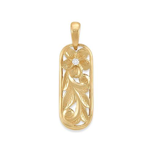 Plumeria Scroll Pendant with Diamond in 14K Yellow Gold