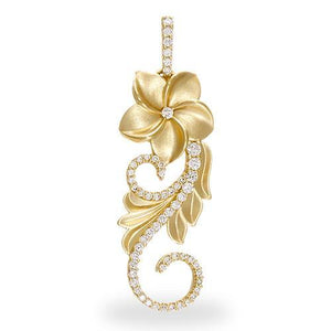 HAWAIIAN HEIRLOOM PLUMERIA SCROLL PENDANT WITH DIAMONDS IN 14K YELLOW GOLD