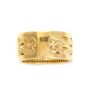 Hawaiian Heirloom Plumeria Scroll 10mm Ring with Diamonds in 14K Yellow Gold