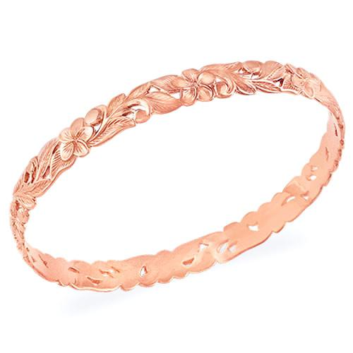 Pierced Plumeria Scroll 8mm Bracelet in 14K Rose Gold - Size 8 074-00546