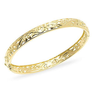 Hawaiian Heirloom Pierced Plumeria Scroll 8mm Heirloom Bracelet in 14K Yellow Gold - Size 8