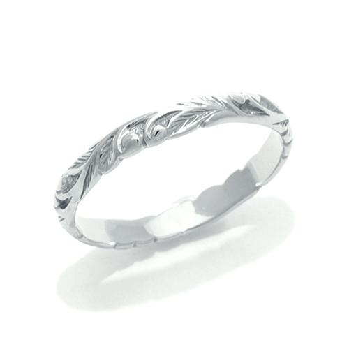 Old English Scroll 3mm Ring In 14k White Gold - Size 2 074-00294
