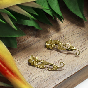 Plumeria Scroll Earrings with Diamonds in 14K Yellow Gold - 30mm