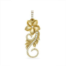 画像をギャラリービューアに読み込む, HAWAIIAN HEIRLOOM PLUMERIA SCROLL PENDANT WITH DIAMONDS IN 14K YELLOW GOLD