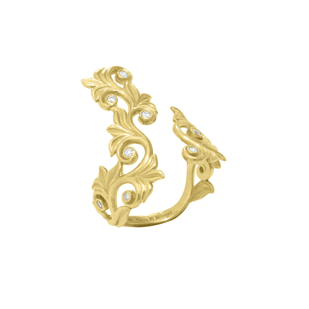 Hawaiian Heirloom Scroll Ring with Diamonds in 14K Yellow Gold - 25mm