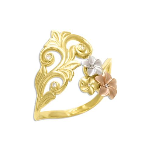 Hawaiian Heirloom Plumeria Scroll Ring with Diamonds in 14K Tri-Color Gold