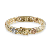 画像をギャラリービューアに読み込む, Hawaiian Heirloom Plumeria Scroll 10mm Heirloom Hinged Bracelet with Diamonds in 14K Yellow, White & Rose Gold