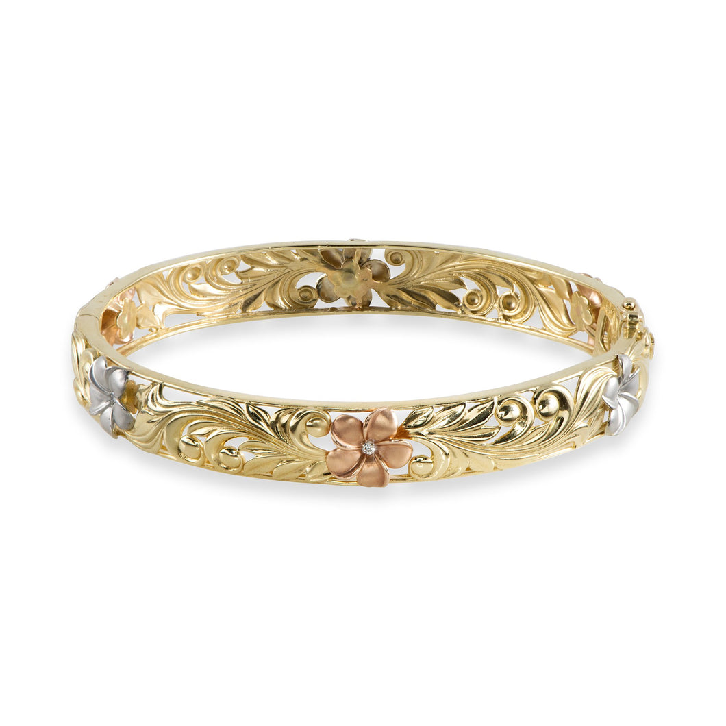 Hawaiian Heirloom Plumeria Scroll 10mm Heirloom Hinged Bracelet with Diamonds in 14K Yellow, White & Rose Gold