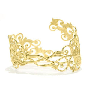 Living Heirloom Cuff Bracelet with Diamonds in 14K Yellow Gold