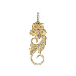 Plumeria Scroll Pendant with Diamonds in 14K Yellow Gold - 25mm 074-00606