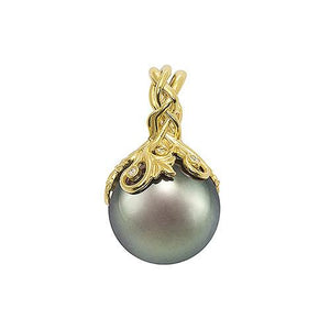 Tahitian Black Pearl Pendant with Diamonds in 14K Yellow Gold (14-15mm) 074-00612