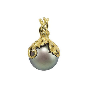 Tahitian Black Pearl Pendant with Diamonds in 14K Yellow Gold (14-15mm) Side 074-00612