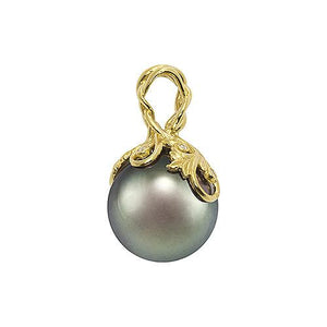 Tahitian Black Pearl Pendant with Diamonds in 14K Yellow Gold (14-15mm) Overview back 074-00612