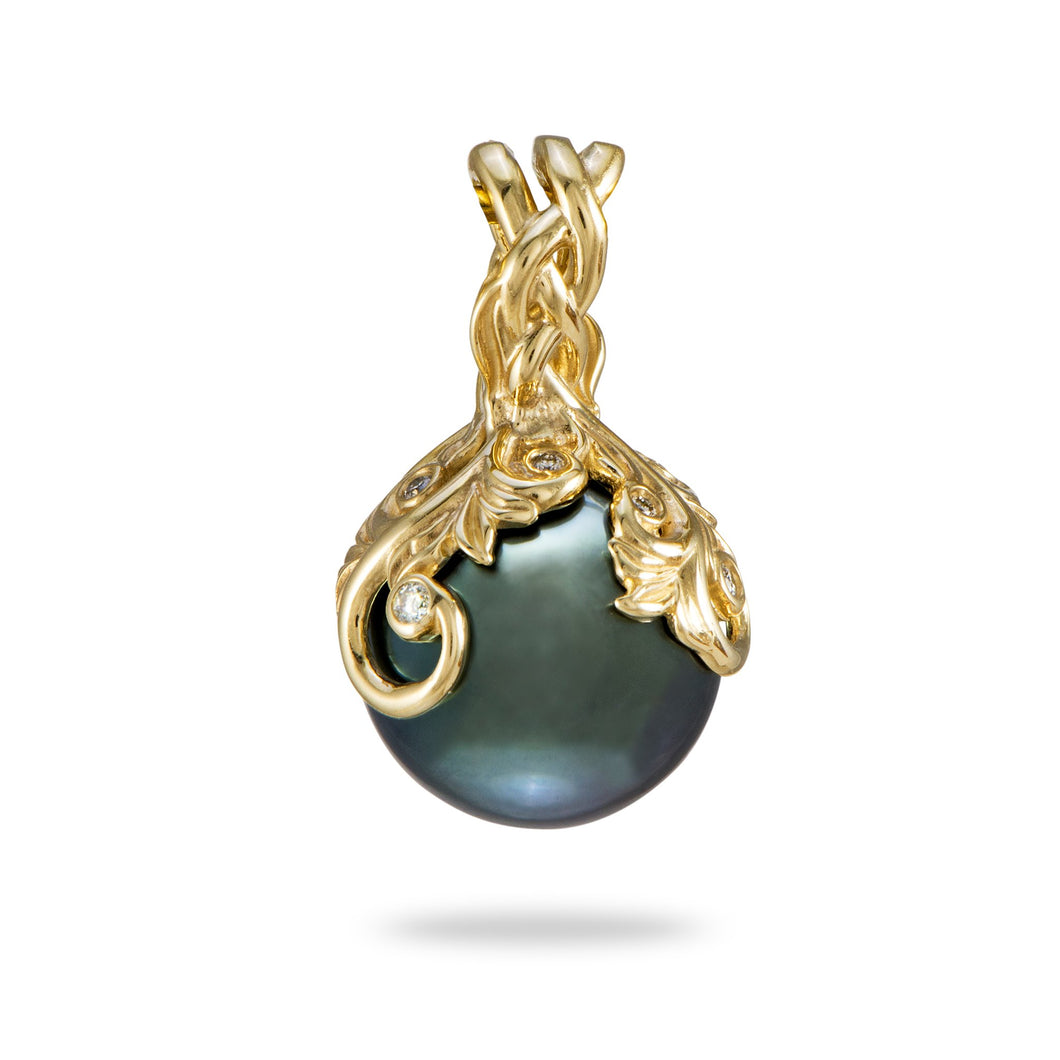 Hawaiian Heirloom Tahitian Black Pearl Pendant with Diamonds in 14K Yellow Gold (9-10mm)