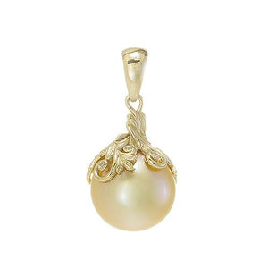 Hawaiian Heirloom South Sea Golden Pearl Pendant with Diamonds in 14K Yellow Gold (13-14mm)