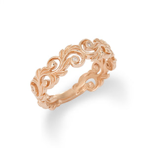 HAWAIIAN HEIRLOOM 6MM RING WITH DIAMONDS IN 14K ROSE GOLD