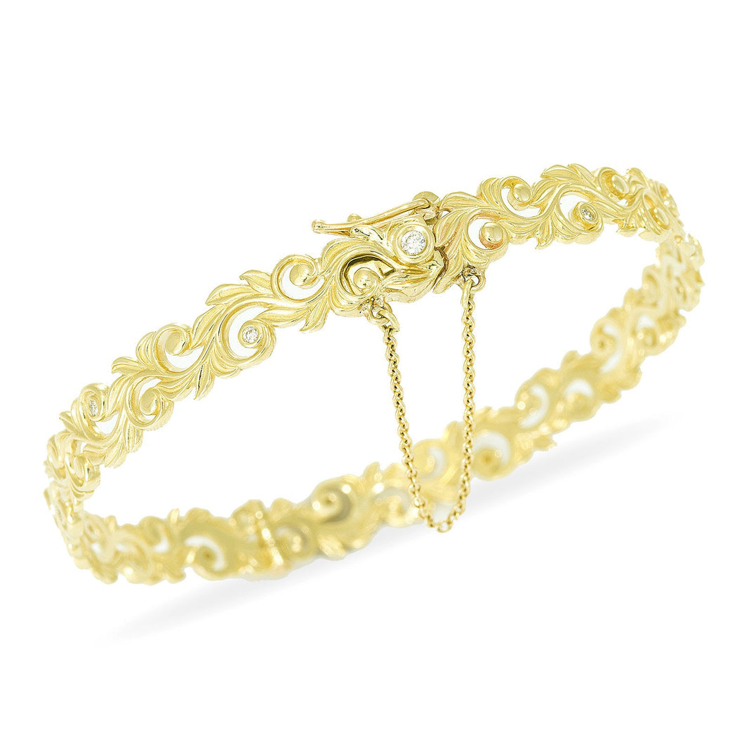Hawaiian Heirloom Scroll Bracelet with Diamonds in 14K Yellow Gold - 8mm