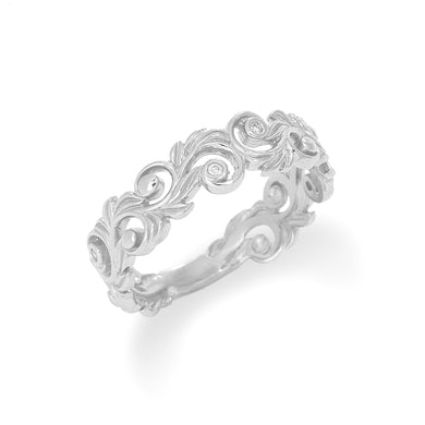 HAWAIIAN HEIRLOOM 6MM RING WITH DIAMONDS IN 14K WHITE GOLD