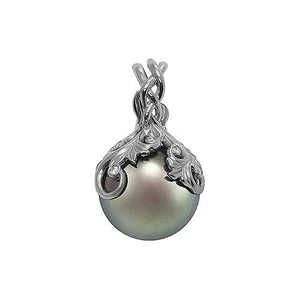 Tahitian Black Pearl Pendant with Diamonds in 14K White Gold (14-15mm) Back 074-00664