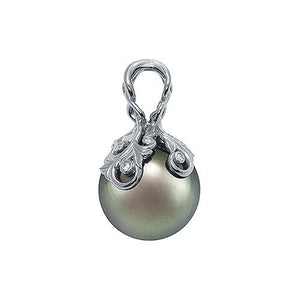 Tahitian Black Pearl Pendant with Diamonds in 14K White Gold (14-15mm) Left 074-00664