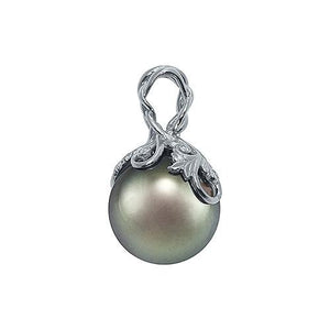 Tahitian Black Pearl Pendant with Diamonds in 14K White Gold (14-15mm) Right 074-00664