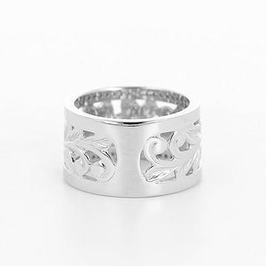 Plumeria Scroll 10mm Ring with Diamonds in 14K White Gold-Size 4-6 074-00675 Back