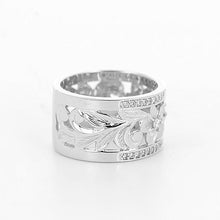 画像をギャラリービューアに読み込む, Plumeria Scroll 10mm Ring with Diamonds in 14K White Gold-Size 4-6 074-00675 Left