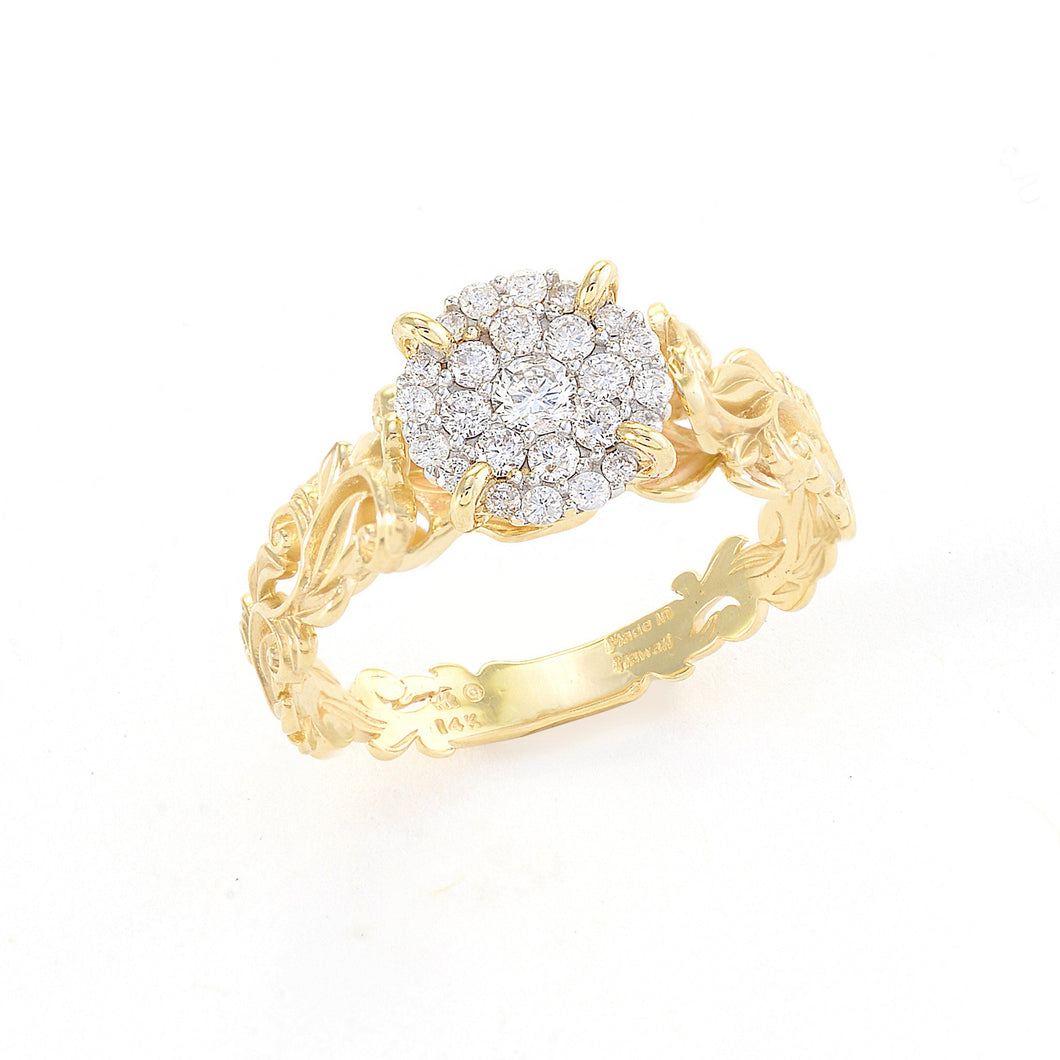 Engagement Living Heirloom Ring with Diamonds in 14K Yellow Gold 074-00683