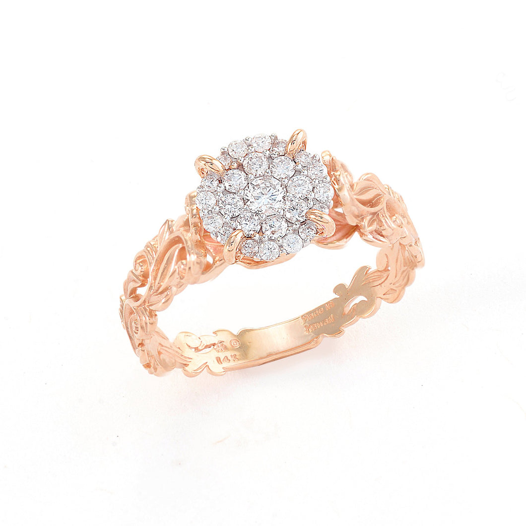 Hawaiian Heirloom Engagement Ring with Diamonds in 14K Rose Gold