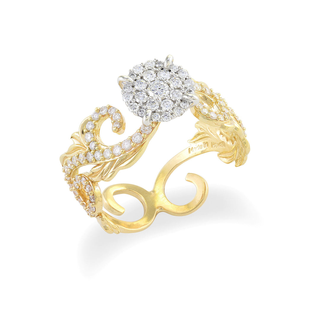 Plumeria Pave Scroll 8mm Ring with Diamonds in 14K Two Tone Gold 074-00688