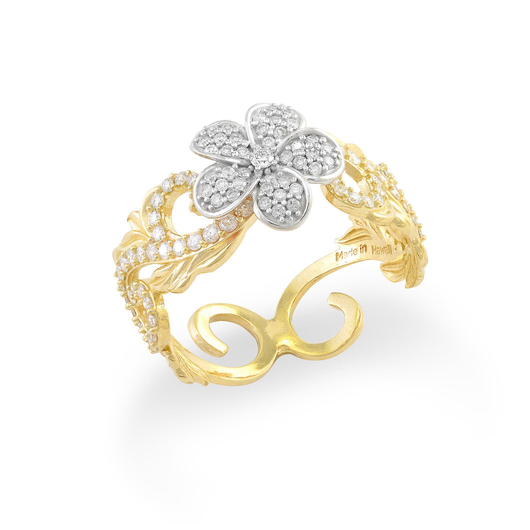 Plumeria Pave Scroll 10mm Ring with Diamonds in 14K Two Tone Gold 074-00689