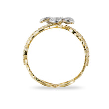 画像をギャラリービューアに読み込む, Hawaiian Heirloom Plumeria Pave Scroll 10mm Ring with Diamonds in 14K Two Tone Gold