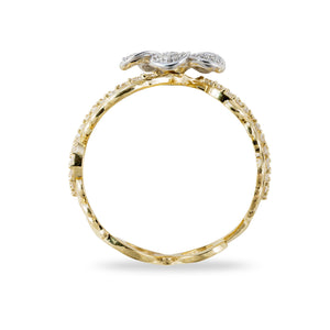 Hawaiian Heirloom Plumeria Pave Scroll 10mm Ring with Diamonds in 14K Two Tone Gold
