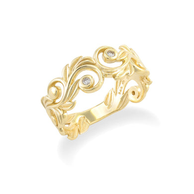 Living Heirloom 8mm Ring with Diamonds in 14K Yellow Gold 074-00690