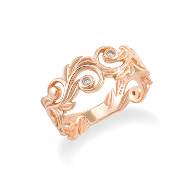 Living Heirloom 8mm Ring with Diamonds in 14K Rose Gold 074-00692
