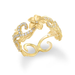 Plumeria Pave Scroll 8mm Ring with Diamonds in 14K Yellow Gold 074-00694