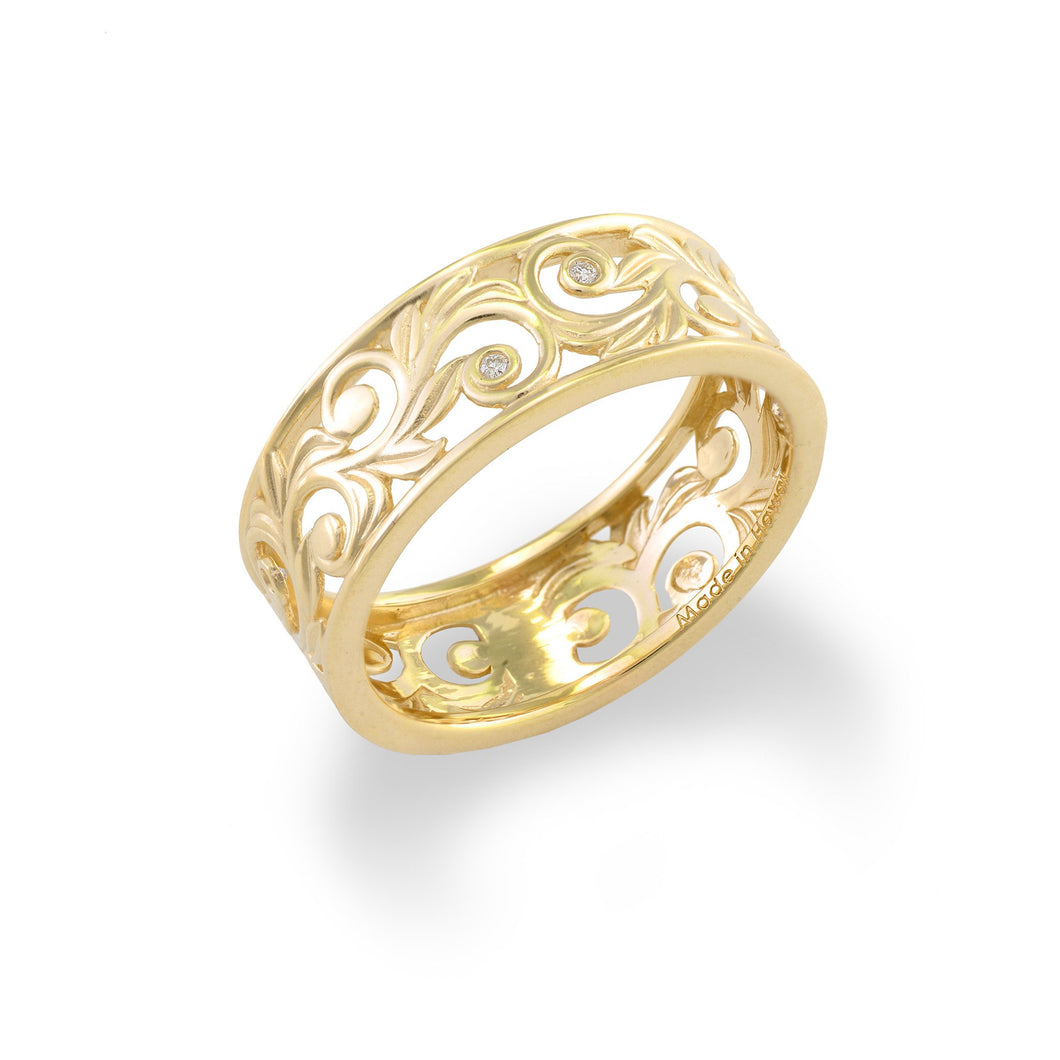 Living Heirloom Scroll 8mm Ring with Diamonds in 14K Yellow Gold 074-00697