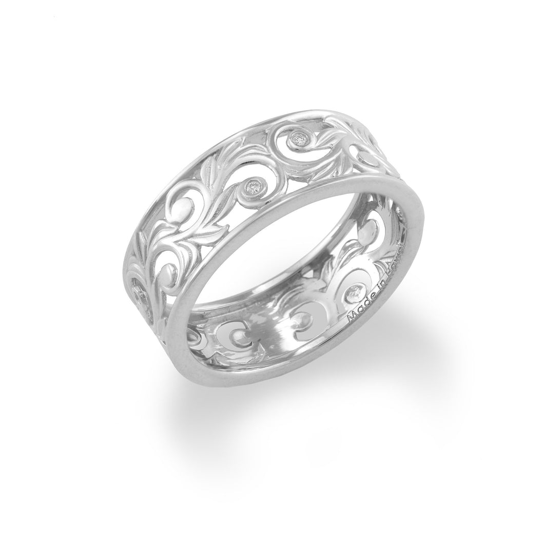 Living Heirloom Scroll 8mm Ring with Diamonds in 14K White Gold 074-00698