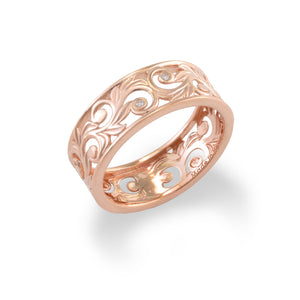 Living Heirloom Scroll 8mm Ring with Diamonds in 14K Rose Gold 074-00699
