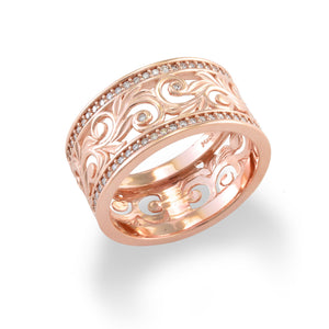 Living Heirloom Scroll 10mm Ring with Diamonds in 14K Rose Gold 074-00702