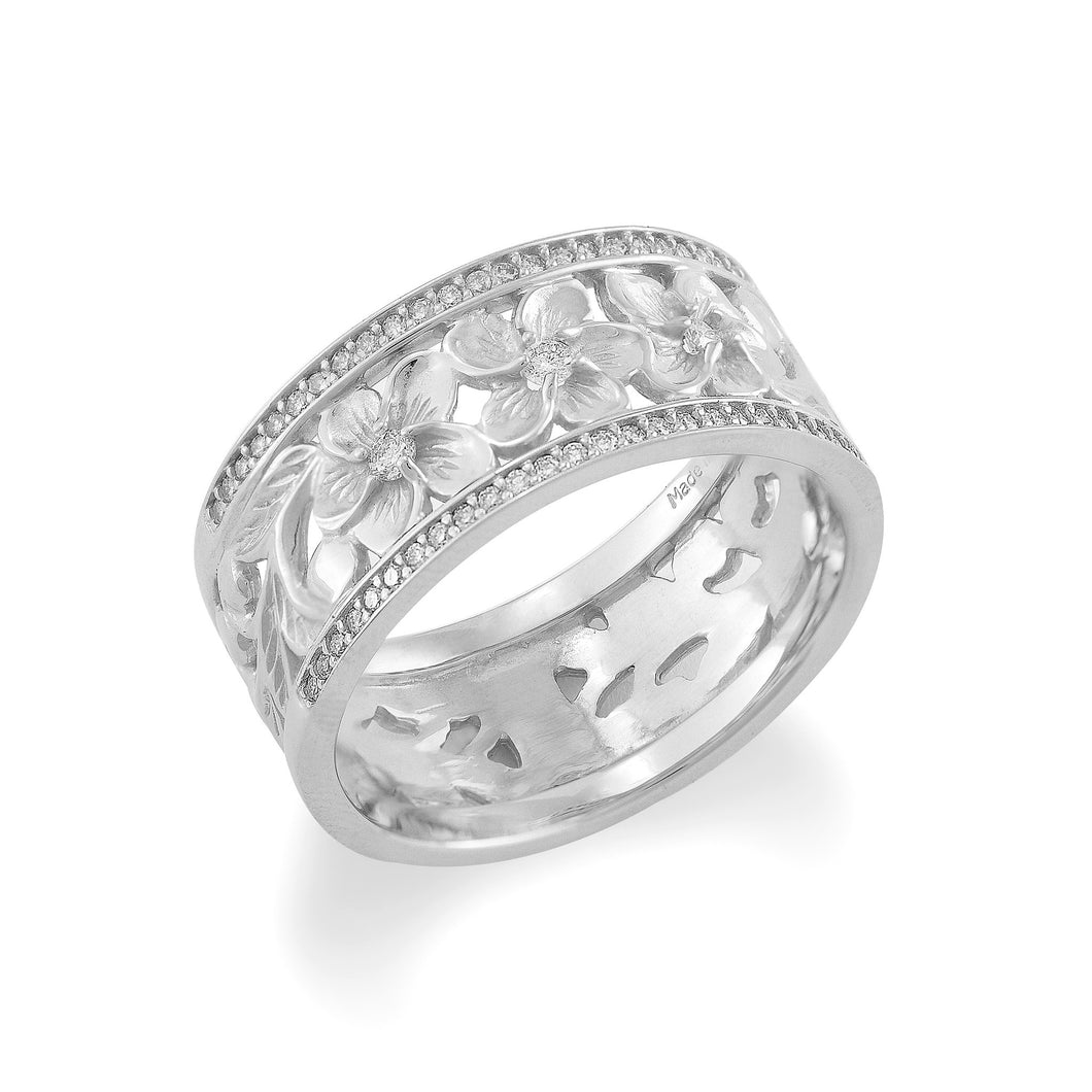Plumeria Scroll Ring with Diamonds in 14K White Gold - 10mm