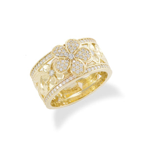 Plumeria Pave Scroll Ring with Diamonds in 14K Yellow Gold - 10mm