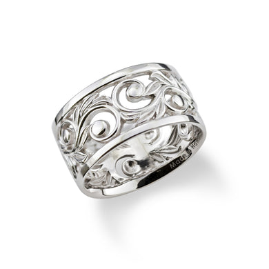Hawaiian Heirloom Scroll 10mm Ring in 14K White Gold