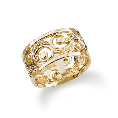 HAWAIIAN HEIRLOOM SCROLL 10MM RING IN 14K YELLOW GOLD