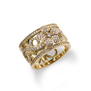 HAWAIIAN HEIRLOOM PLUMERIA PAVE SCROLL 10MM RING WITH DIAMONDS IN 14K YELLOW GOLD