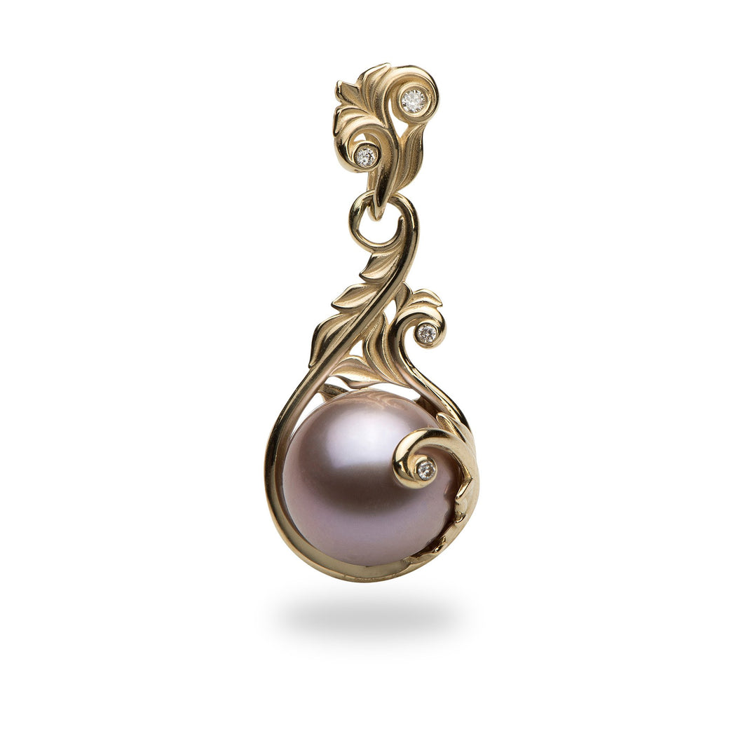 Hawaiian Heirloom Freshwater Pearl Pendant with Diamonds in 14K Yellow Gold  (9-10mm)
