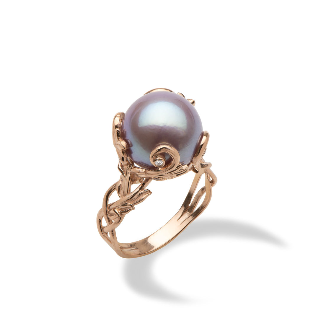 Lilac Freshwater Pearl Ring with Diamonds in 14K Rose Gold (11-12mm)